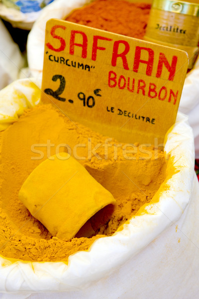 saffron, street market in Castellane, Provence, France Stock photo © phbcz