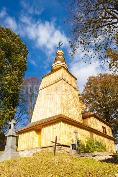 Fából készült templom Szlovákia építészet Európa történelem Stock fotó © phbcz