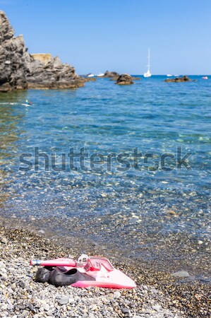 snorkeling equipment, on the beach, Mediterranean Sea, France Stock photo © phbcz