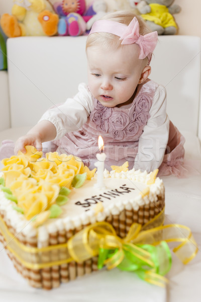 portrait of sitting toddler girl with her birthday cake Stock photo © phbcz