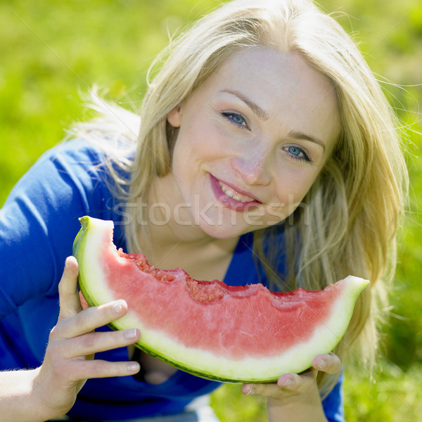 woman with water melon Stock photo © phbcz