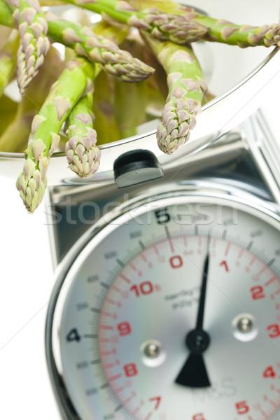 green asparagus on kitchen scales Stock photo © phbcz