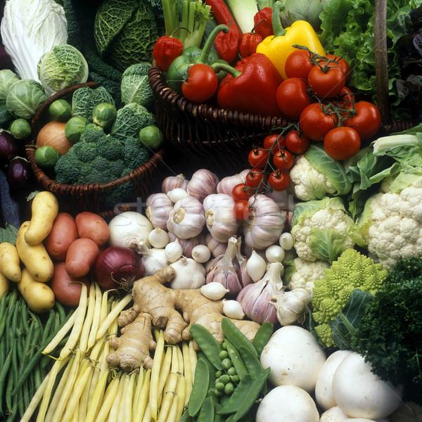 Zöldségek csendélet egészség zöldség gomba fokhagyma Stock fotó © phbcz