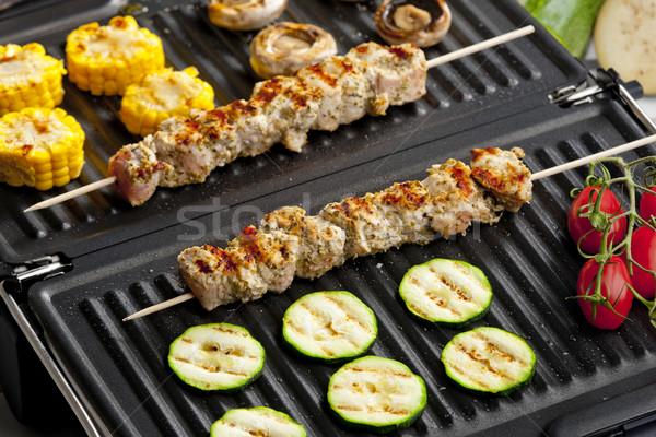 ストックフォト: 肉 · 野菜 · 電気 · グリル · キノコ · バーベキュー
