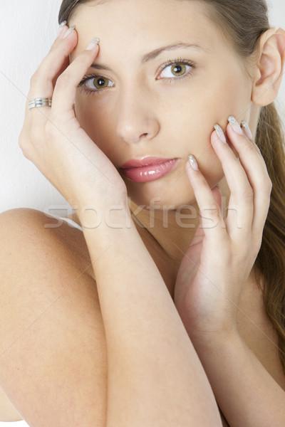 молодые портрет женщину рук лицах только Сток-фото © phbcz