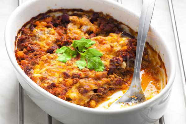 baked Mexican mixture with mozzarella Stock photo © phbcz