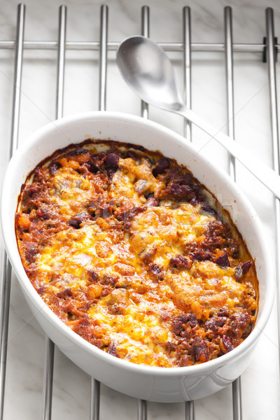 Mexican mélange mozzarella viande cuillère Photo stock © phbcz