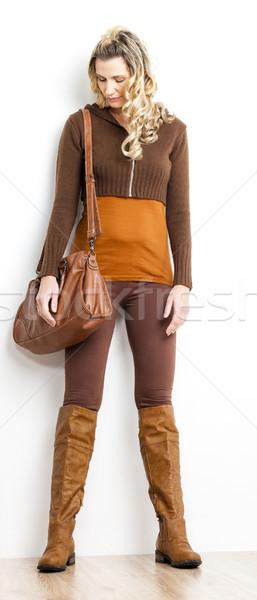 立って 女性 着用 ブラウン 服 ブーツ ストックフォト © phbcz