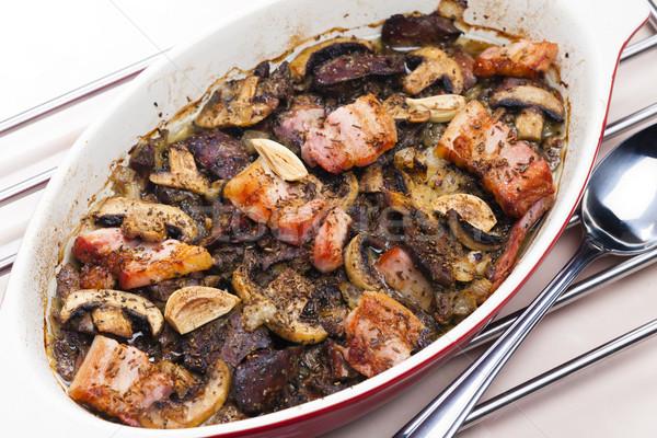 куриные бекон грибы чеснока пластина Сток-фото © phbcz
