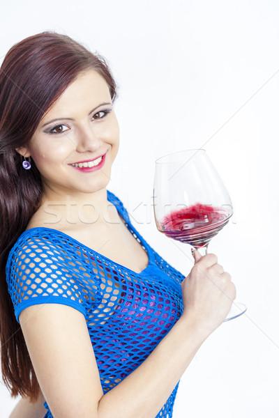 Portré fiatal nő üveg vörösbor nő fiatal Stock fotó © phbcz