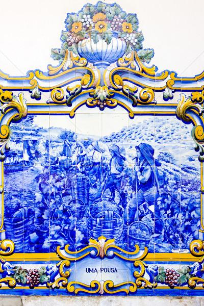 Csempék vasútállomás völgy Portugália kék festmény Stock fotó © phbcz