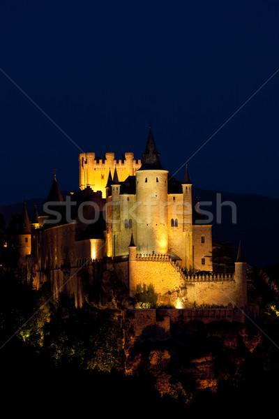 Kale gece İspanya ışık binalar karanlık Stok fotoğraf © phbcz