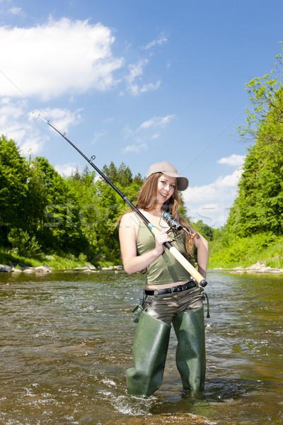 woman fishing in river, Czech Republic Stock photo © phbcz