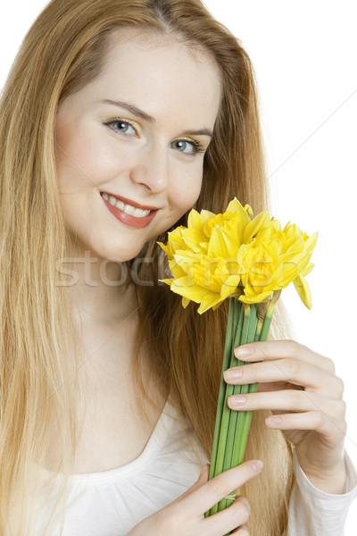 Porträt Frau Narzissen Blume Blumen jungen Stock foto © phbcz