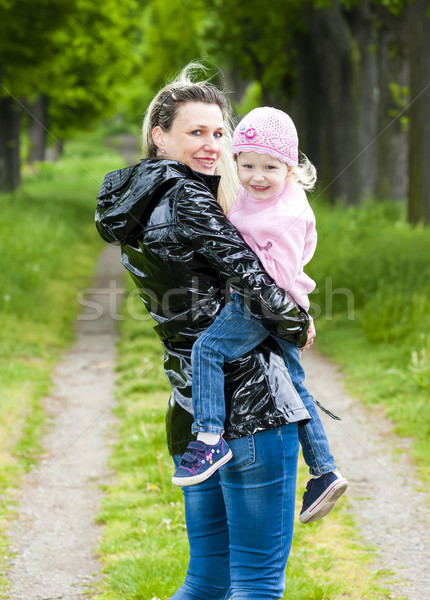 portrait of mother with her little daughter in spring alley Stock photo © phbcz