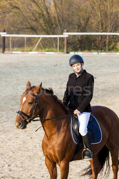 верхом женщины лошади животного шлема Сток-фото © phbcz