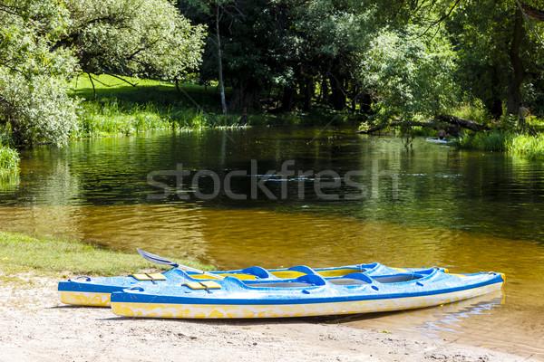 canoeing on Krutynia River, Warmian-Masurian Voivodeship, Poland Stock photo © phbcz