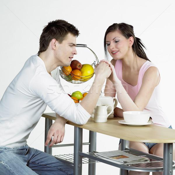 Pár reggeli nő szeretet férfi párok Stock fotó © phbcz
