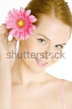Retrato mujer flores jóvenes solo jóvenes Foto stock © phbcz