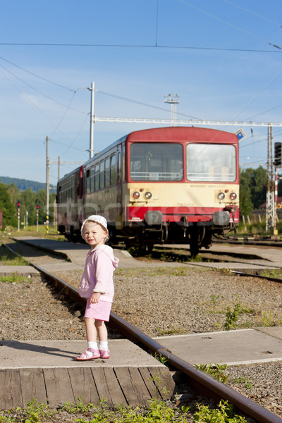 litte girl at railway station, Czech Republic Stock photo © phbcz