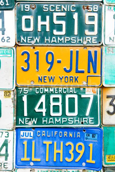 Regisztráció számok USA háttér hátterek Stock fotó © phbcz