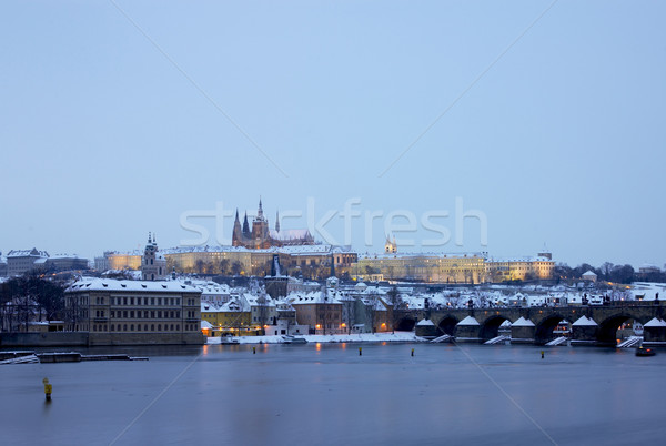 Prague Castle with Charles bridge in winter, Prague, Czech Repub Stock photo © phbcz