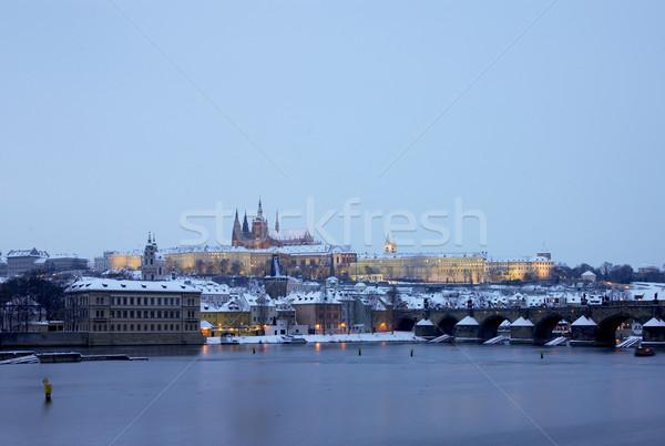 ストックフォト: プラハ · 城 · 橋 · 冬 · チェコ語 · チェコ共和国