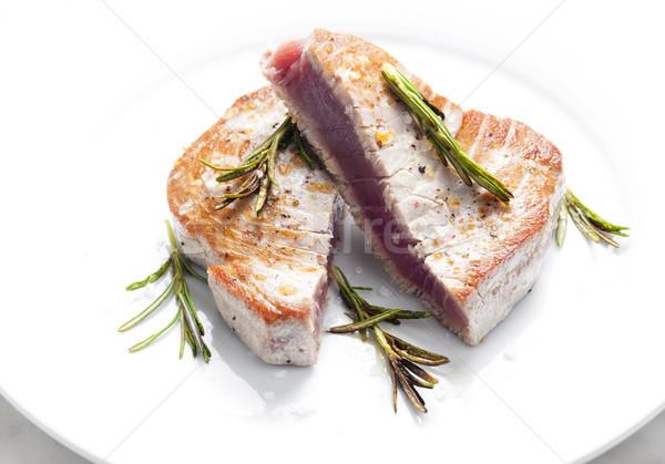 Ton balığı biftek plaka yemek sağlıklı içinde Stok fotoğraf © phbcz