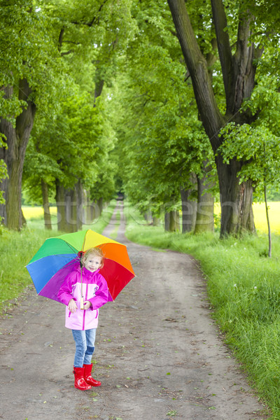 little girl wearing rubber boots with umbrella in spring alley Stock photo © phbcz