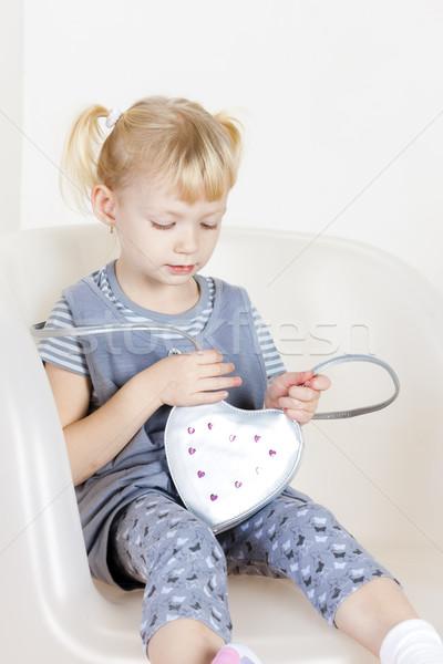 座って 女の子 ハンドバッグ 少女 子 子供 ストックフォト © phbcz