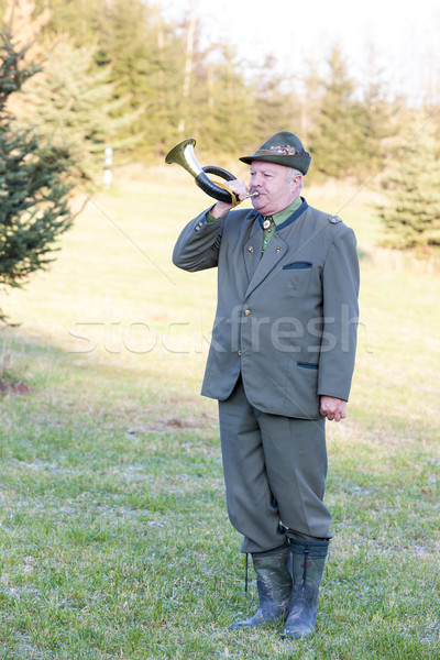 hunter with hunting horn Stock photo © phbcz