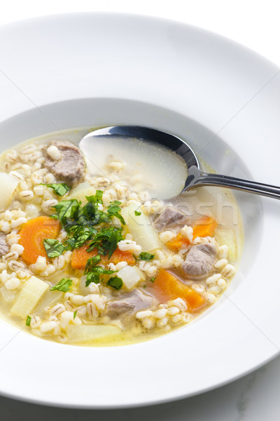Scottish soup of mutton meat with kohlrabi and barley Stock photo © phbcz