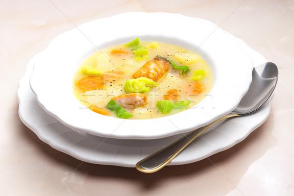 Aardappelsoep zalm plaat lepel plantaardige aardappel Stockfoto © phbcz