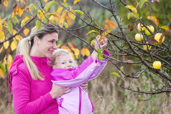 mother and her daughter with autumnal apple tree holding an apple Stock photo © phbcz