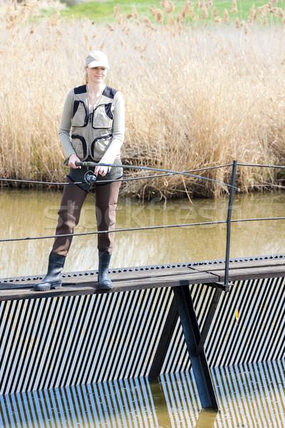 Kobieta połowów molo staw kobiet relaks Zdjęcia stock © phbcz