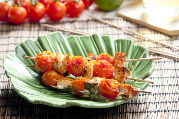 Salmão tomates cereja comida tomates vegetal pratos Foto stock © phbcz