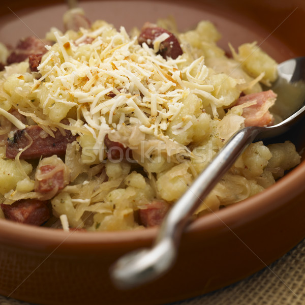 halusky with cabbage and bacon (Slovakian cuisine) Stock photo © phbcz