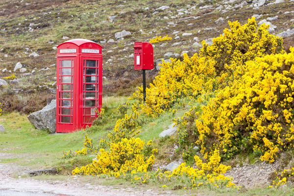 Stockfoto: Telefoon · kraam · brievenbus · Schotland · telefoon · Rood