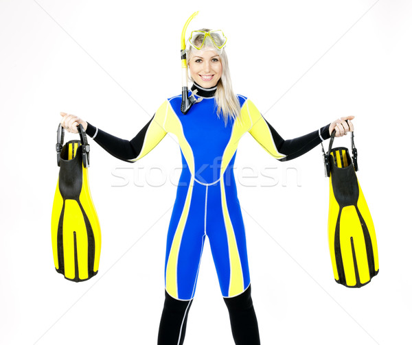 standing young woman wearing neoprene with snorkeling equipment Stock photo © phbcz
