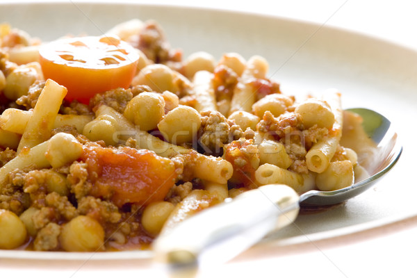 minced beef meat with tomatoes and chick peas Stock photo © phbcz