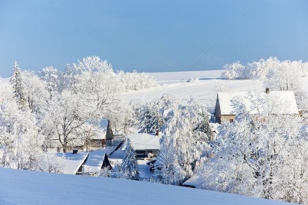 Сток-фото: Чешская · республика · здании · пейзаж · снега · деревья · зима