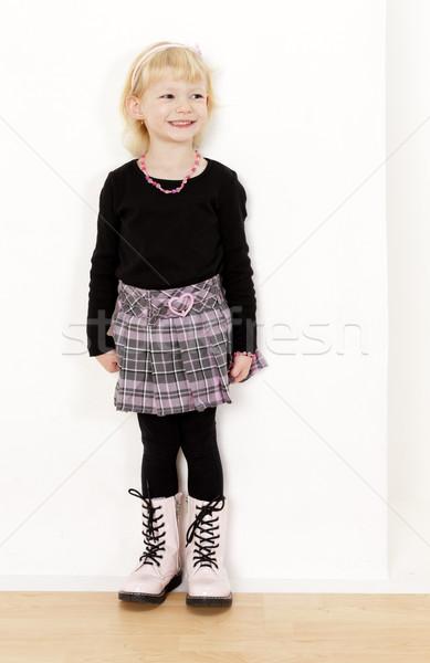 Stałego dziewczynka spódnica dziewczyna moda Zdjęcia stock © phbcz