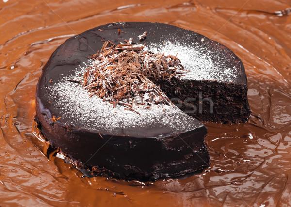 Natureza morta chocolate bolo de chocolate comida aniversário sobremesa Foto stock © phbcz
