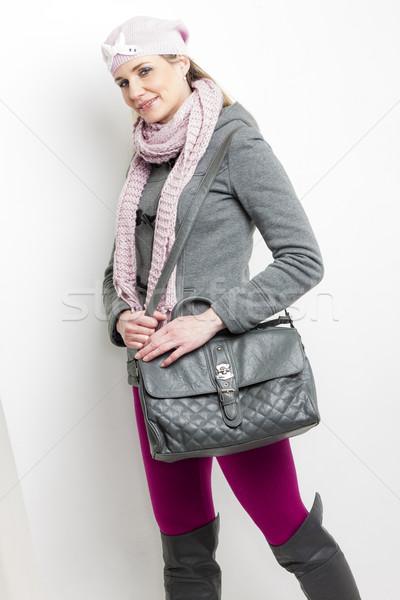 Retrato mujer invierno ropa bolso Foto stock © phbcz