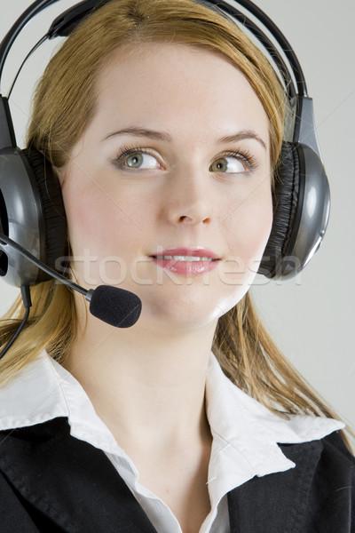 портрет женщину телефон работу микрофона костюм Сток-фото © phbcz