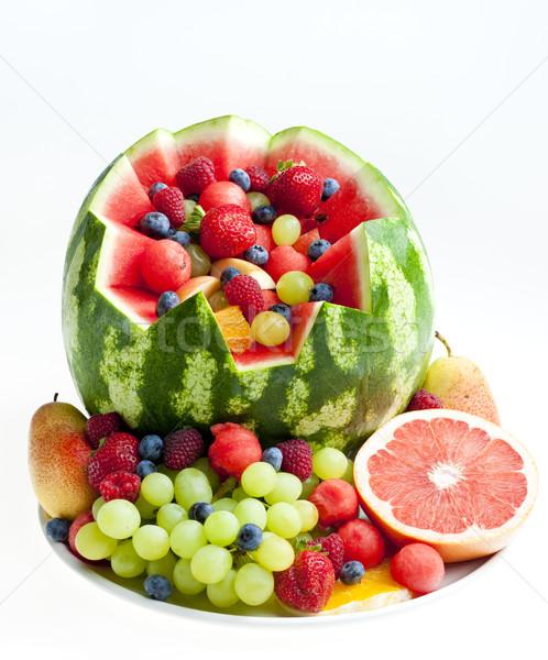 ストックフォト: フルーツサラダ · 水 · メロン · 食品 · フルーツ · イチゴ