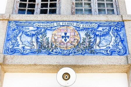 Azulejos estação de trem Portugal arte azul arquitetura Foto stock © phbcz
