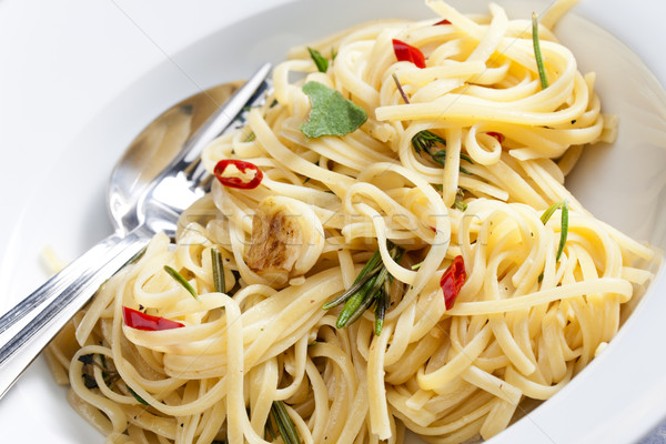 spaghetti with turkey meat on sage with chilli Stock photo © phbcz