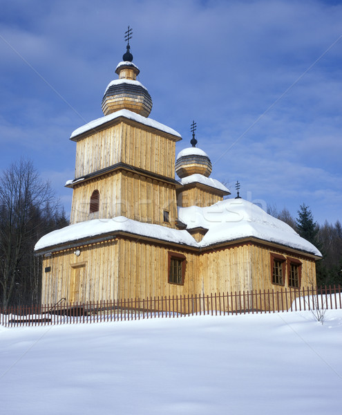 Houten kerk Slowakije gebouw sneeuw architectuur Stockfoto © phbcz