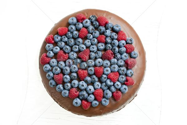 Stok fotoğraf: Ahududu · yaban · mersini · gıda · meyve · kek